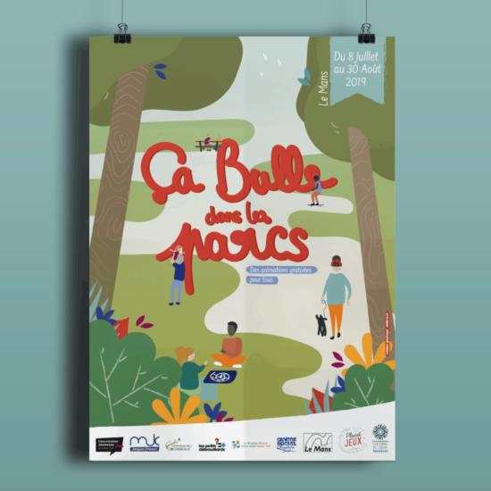 affiche illustrée ça bulle dans les parcs